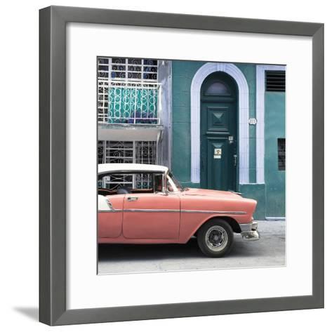 Cuba Fuerte Collection SQ - Coral Classic Car in Havana-Philippe Hugonnard-Framed Art Print