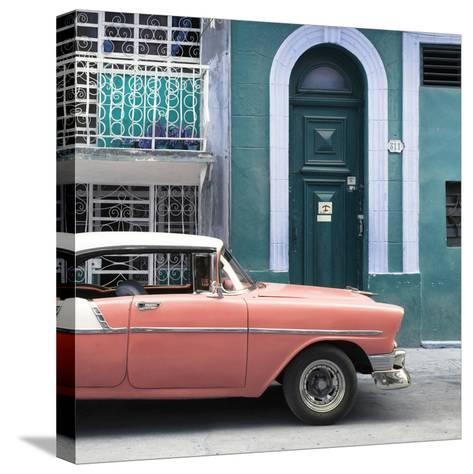 Cuba Fuerte Collection SQ - Coral Classic Car in Havana-Philippe Hugonnard-Stretched Canvas Print