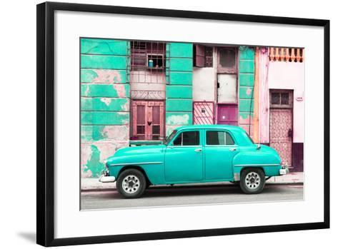 Cuba Fuerte Collection - Turquoise Classic American Car-Philippe Hugonnard-Framed Art Print
