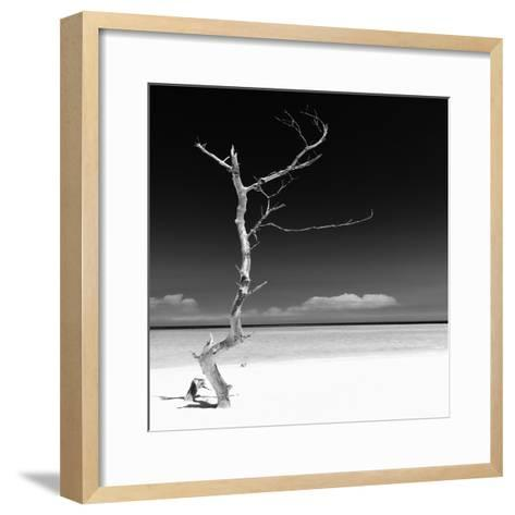 Cuba Fuerte Collection SQ BW - Alone on the White Sandy Beach-Philippe Hugonnard-Framed Art Print