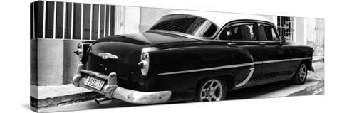 Cuba Fuerte Collection Panoramic BW - American Classic Car II-Philippe Hugonnard-Stretched Canvas Print