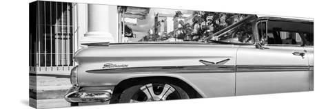 """Cuba Fuerte Collection Panoramic BW - Vintage Car """"Streetmachine"""" II-Philippe Hugonnard-Stretched Canvas Print"""