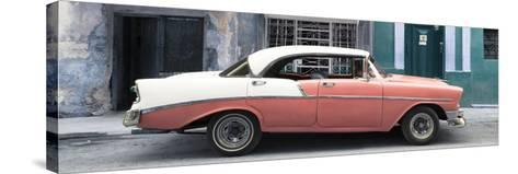 Cuba Fuerte Collection Panoramic - Coral Vintage American Car-Philippe Hugonnard-Stretched Canvas Print