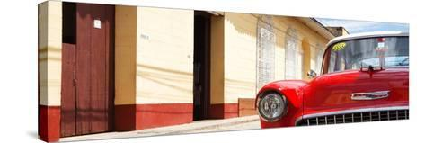 Cuba Fuerte Collection Panoramic - 1955 Chevy Red Car-Philippe Hugonnard-Stretched Canvas Print