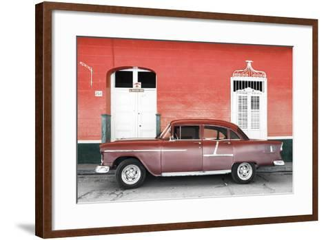 Cuba Fuerte Collection - Old Red Car-Philippe Hugonnard-Framed Art Print
