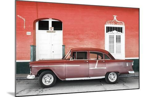 Cuba Fuerte Collection - Old Red Car-Philippe Hugonnard-Mounted Photographic Print