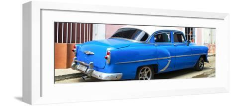 Cuba Fuerte Collection Panoramic - American Classic Blue Car-Philippe Hugonnard-Framed Art Print