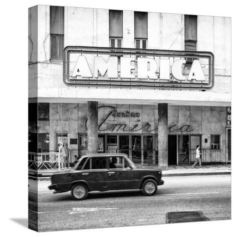 Cuba Fuerte Collection SQ BW - Teatro America in Havana-Philippe Hugonnard-Stretched Canvas Print