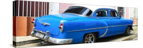 Cuba Fuerte Collection Panoramic - American Classic Blue Car-Philippe Hugonnard-Stretched Canvas Print
