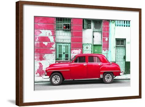 Cuba Fuerte Collection - Red Classic American Car-Philippe Hugonnard-Framed Art Print