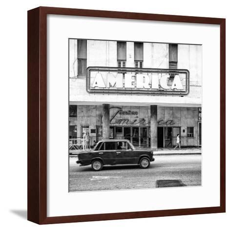 Cuba Fuerte Collection SQ BW - Teatro America in Havana-Philippe Hugonnard-Framed Art Print