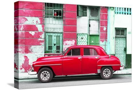 Cuba Fuerte Collection - Red Classic American Car-Philippe Hugonnard-Stretched Canvas Print