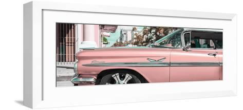 """Cuba Fuerte Collection Panoramic - Vintage Pink Car """"Streetmachine""""-Philippe Hugonnard-Framed Art Print"""