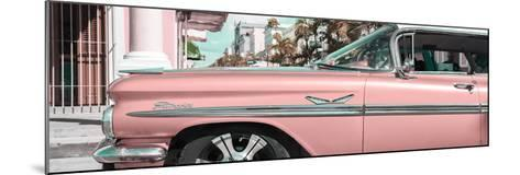 """Cuba Fuerte Collection Panoramic - Vintage Pink Car """"Streetmachine""""-Philippe Hugonnard-Mounted Photographic Print"""
