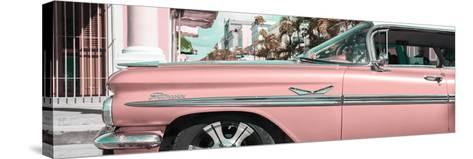 """Cuba Fuerte Collection Panoramic - Vintage Pink Car """"Streetmachine""""-Philippe Hugonnard-Stretched Canvas Print"""