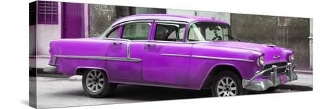 Cuba Fuerte Collection Panoramic - Purple Chevy-Philippe Hugonnard-Stretched Canvas Print