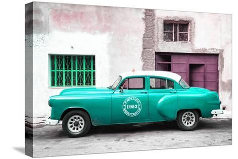 Cuba Fuerte Collection - Turquoise Pontiac 1953 Original Classic Car-Philippe Hugonnard-Stretched Canvas Print