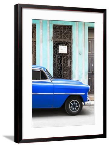 Cuba Fuerte Collection - Blue Classic Car-Philippe Hugonnard-Framed Art Print