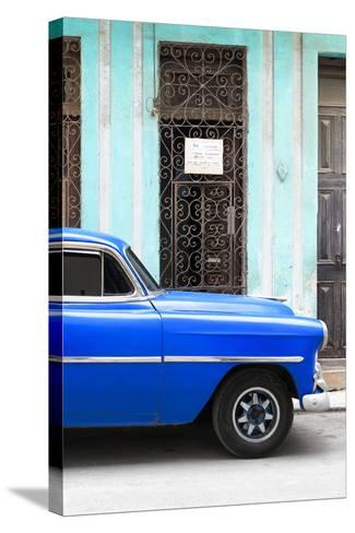 Cuba Fuerte Collection - Blue Classic Car-Philippe Hugonnard-Stretched Canvas Print