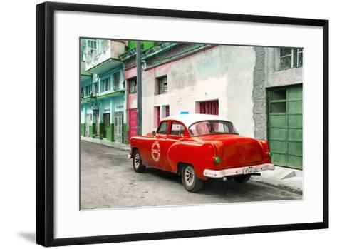 Cuba Fuerte Collection - Red Taxi Pontiac 1953-Philippe Hugonnard-Framed Art Print