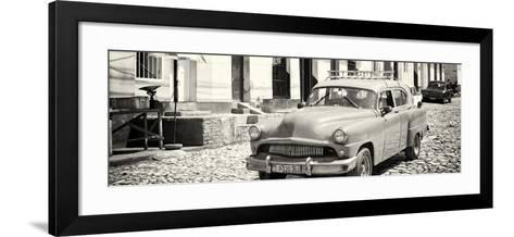 Cuba Fuerte Collection Panoramic BW - Old Taxi in Trinidad-Philippe Hugonnard-Framed Art Print