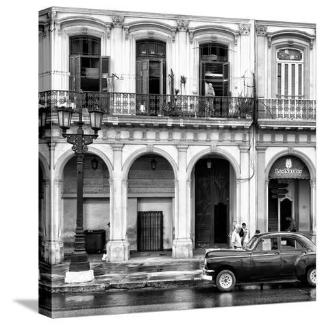 Cuba Fuerte Collection SQ BW - Colorful Architecture and Black Classic Car II-Philippe Hugonnard-Stretched Canvas Print