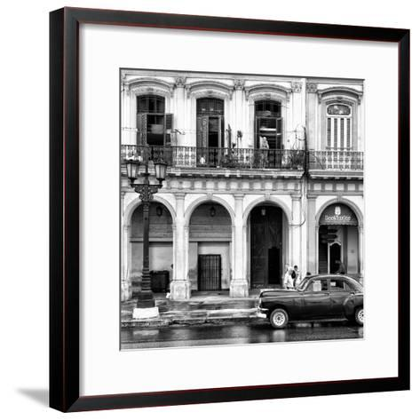 Cuba Fuerte Collection SQ BW - Colorful Architecture and Black Classic Car II-Philippe Hugonnard-Framed Art Print