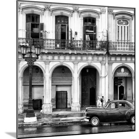 Cuba Fuerte Collection SQ BW - Colorful Architecture and Black Classic Car II-Philippe Hugonnard-Mounted Photographic Print