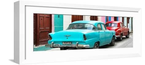 Cuba Fuerte Collection Panoramic - Classic American Cars - Turquoise & Red-Philippe Hugonnard-Framed Art Print