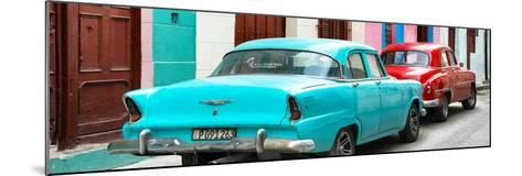 Cuba Fuerte Collection Panoramic - Classic American Cars - Turquoise & Red-Philippe Hugonnard-Mounted Photographic Print