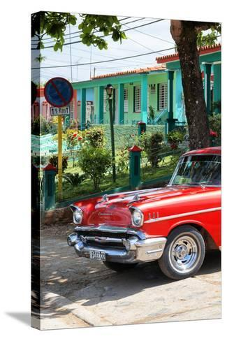 Cuba Fuerte Collection - Red Classic Car in Vinales II-Philippe Hugonnard-Stretched Canvas Print