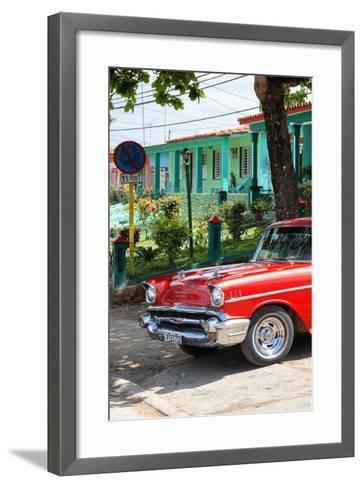 Cuba Fuerte Collection - Red Classic Car in Vinales II-Philippe Hugonnard-Framed Art Print