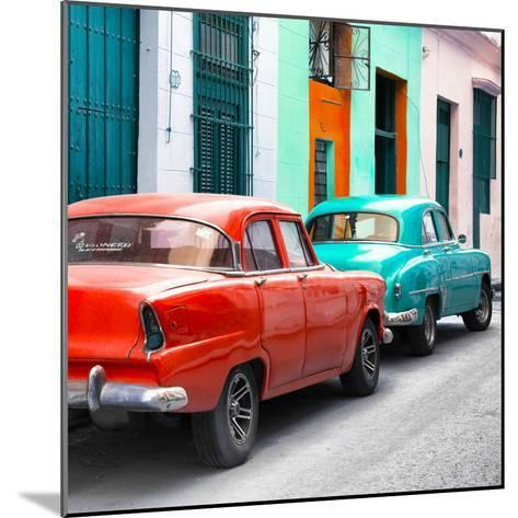 Cuba Fuerte Collection SQ - Two Classic American Cars - Red & Turquoise-Philippe Hugonnard-Mounted Photographic Print