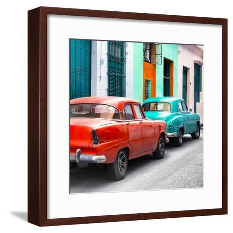 Cuba Fuerte Collection SQ - Two Classic American Cars - Red & Turquoise-Philippe Hugonnard-Framed Art Print