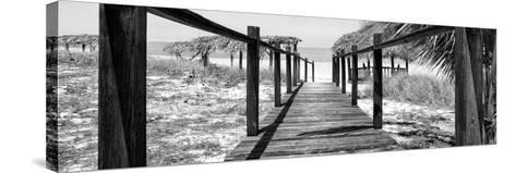 Cuba Fuerte Collection Panoramic BW - Boardwalk on the Beach-Philippe Hugonnard-Stretched Canvas Print