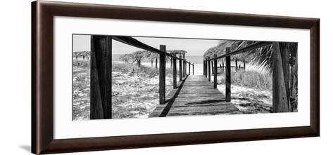 Cuba Fuerte Collection Panoramic BW - Boardwalk on the Beach-Philippe Hugonnard-Framed Art Print