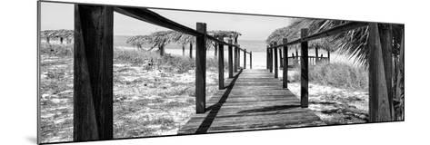 Cuba Fuerte Collection Panoramic BW - Boardwalk on the Beach-Philippe Hugonnard-Mounted Photographic Print