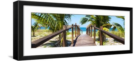 Cuba Fuerte Collection Panoramic - Wooden Jetty on the Beach-Philippe Hugonnard-Framed Art Print
