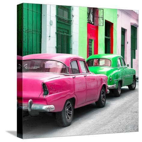 Cuba Fuerte Collection SQ - Two Classic American Cars - Pink & Green-Philippe Hugonnard-Stretched Canvas Print