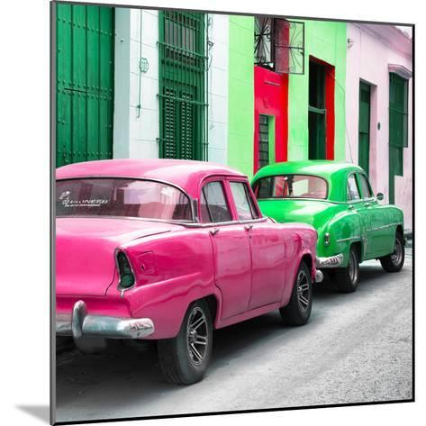 Cuba Fuerte Collection SQ - Two Classic American Cars - Pink & Green-Philippe Hugonnard-Mounted Photographic Print