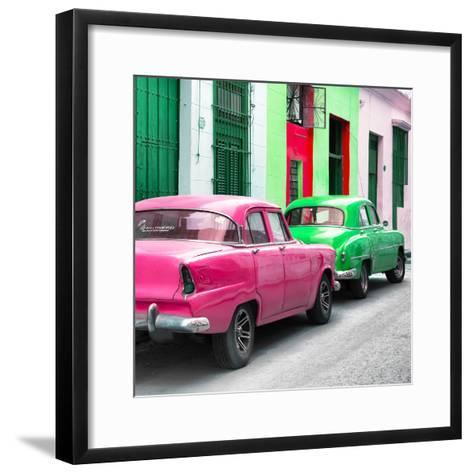 Cuba Fuerte Collection SQ - Two Classic American Cars - Pink & Green-Philippe Hugonnard-Framed Art Print