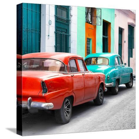 Cuba Fuerte Collection SQ - Two Classic American Cars - Red & Turquoise-Philippe Hugonnard-Stretched Canvas Print