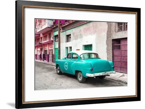 Cuba Fuerte Collection - Turquoise Taxi Pontiac 1953-Philippe Hugonnard-Framed Art Print