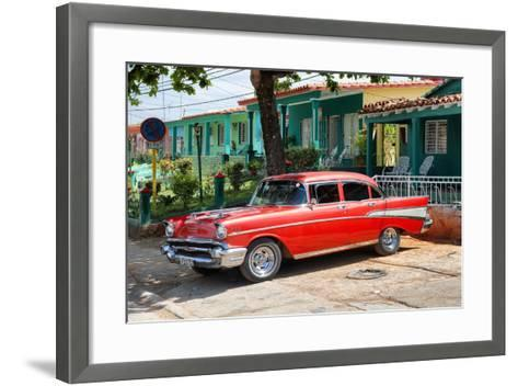 Cuba Fuerte Collection - Red Classic Car in Vinales-Philippe Hugonnard-Framed Art Print