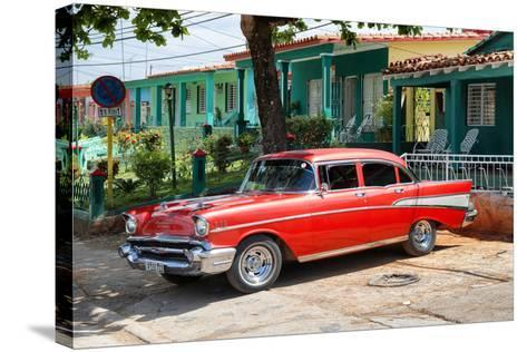 Cuba Fuerte Collection - Red Classic Car in Vinales-Philippe Hugonnard-Stretched Canvas Print