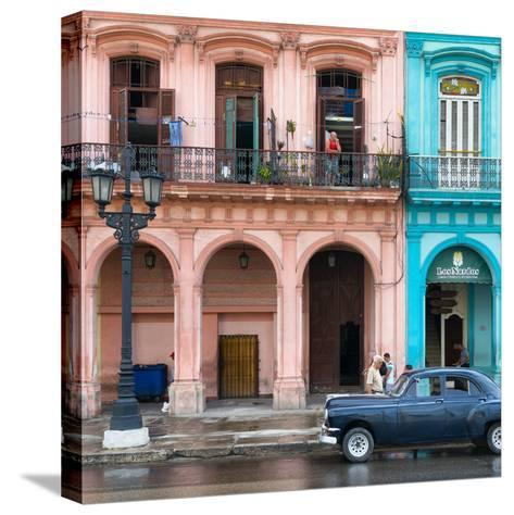Cuba Fuerte Collection SQ - Colorful Architecture and Black Classic Car-Philippe Hugonnard-Stretched Canvas Print