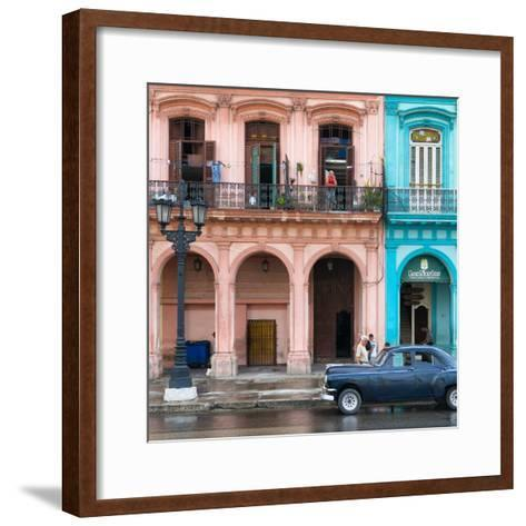 Cuba Fuerte Collection SQ - Colorful Architecture and Black Classic Car-Philippe Hugonnard-Framed Art Print