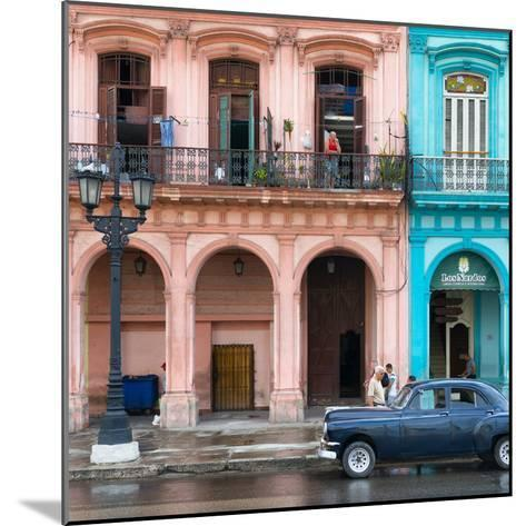 Cuba Fuerte Collection SQ - Colorful Architecture and Black Classic Car-Philippe Hugonnard-Mounted Photographic Print