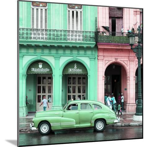 Cuba Fuerte Collection SQ - Colorful Architecture and Green Classic Car-Philippe Hugonnard-Mounted Photographic Print