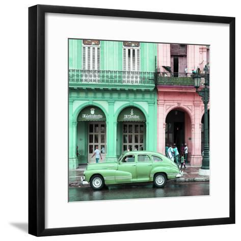 Cuba Fuerte Collection SQ - Colorful Architecture and Green Classic Car-Philippe Hugonnard-Framed Art Print